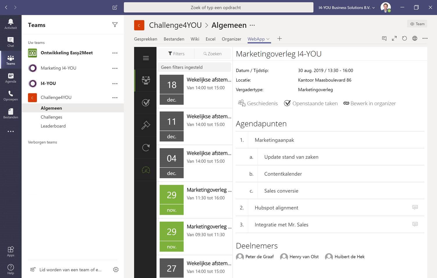 Microsoft Teams Easy2Meet Agenda