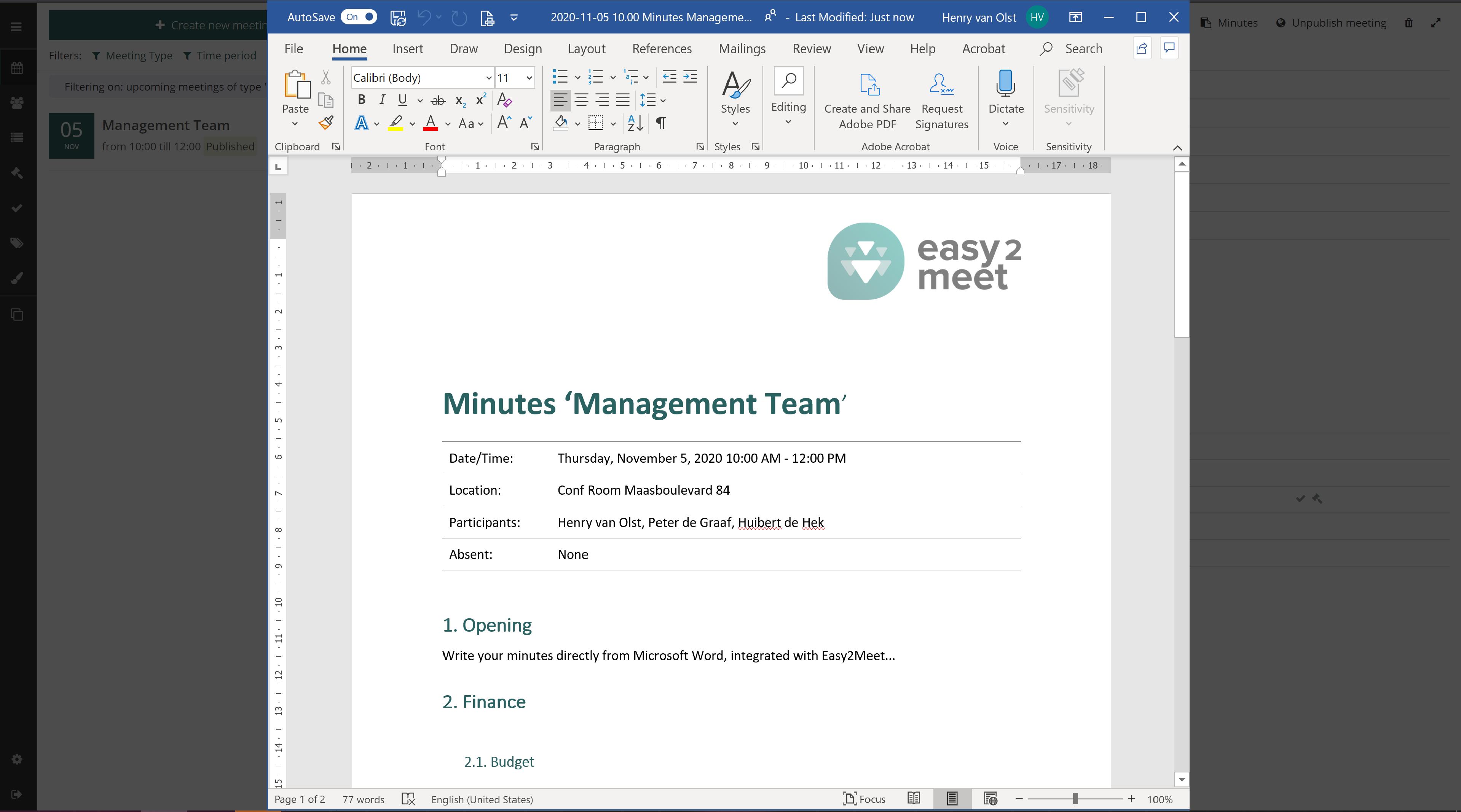 Easy2Meet Minutes